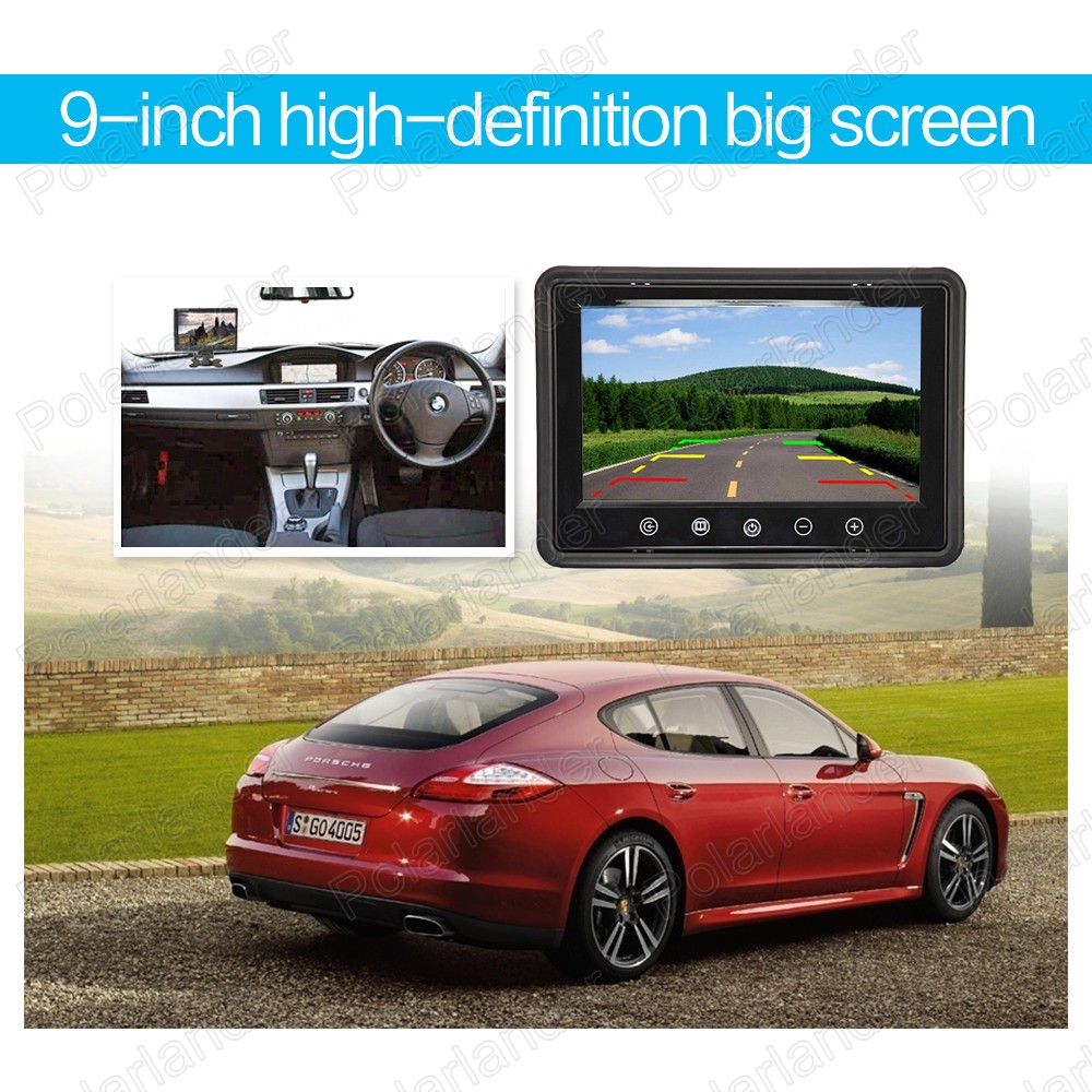 New 9 inch LCD  reverse priority Car Monitor Mini TFT LCD Car Monitor display two-way AV in for rear camera
