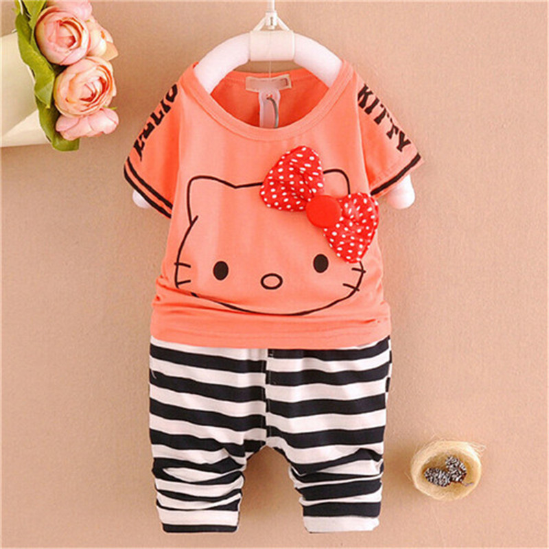 2015 new summer baby girls clothing sets children cotton clothes suit kids cartoon short sleeve shirt +short pant set - Little Angels children's store