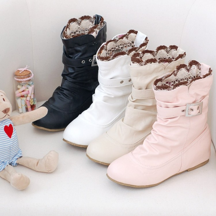 Ladies big size10 11 13 lace flower leather shoes printing cloth round toe wedge Ankle square hight increasing boot Martin boots(China (Mainland))