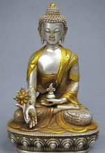 21CM 18TH C TIBET SILVER STATUE OF MEDICINE BUDDHA 100% free shipping