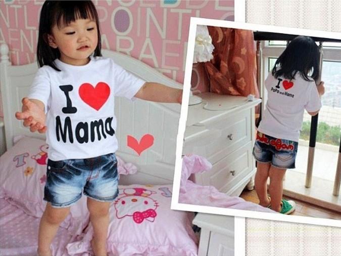 children baby Short Sleeve Shirt baby Tee shirt boy girl T-shirt love papa mama t shirt printed stretch short shirt(China (Mainland))