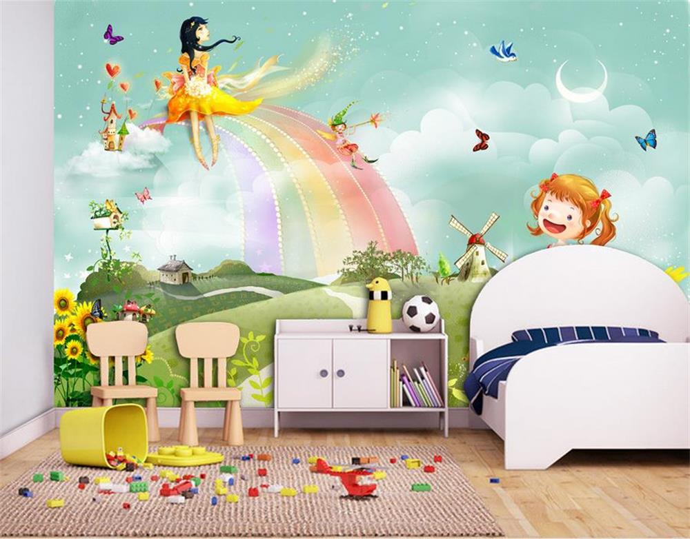 3d wallpaper custom photo wall paper kids 39 room cartoon for Rainbow kids room