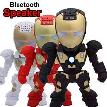 2016 Portable Mini Speaker Iron Man Bluetooth Wireless Speakers with LED Flashing Light Stereo Hifi Sound Box TF USB MP3 Player