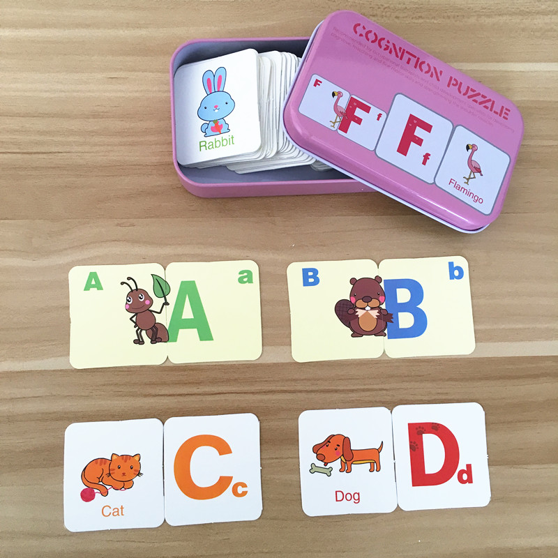 Baby Toys English Cognitive Card Digital/Fruit/Animal/Letter Set Pair Puzzle Early Head Start Training Puzzle Educational Gift(China (Mainland))