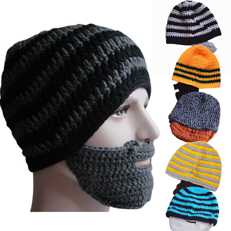 Hot Selling Fashion Punk Knit Crochet Beard Hat Beanie Mustache Warm Winter Face Mask H9(China (Mainland))