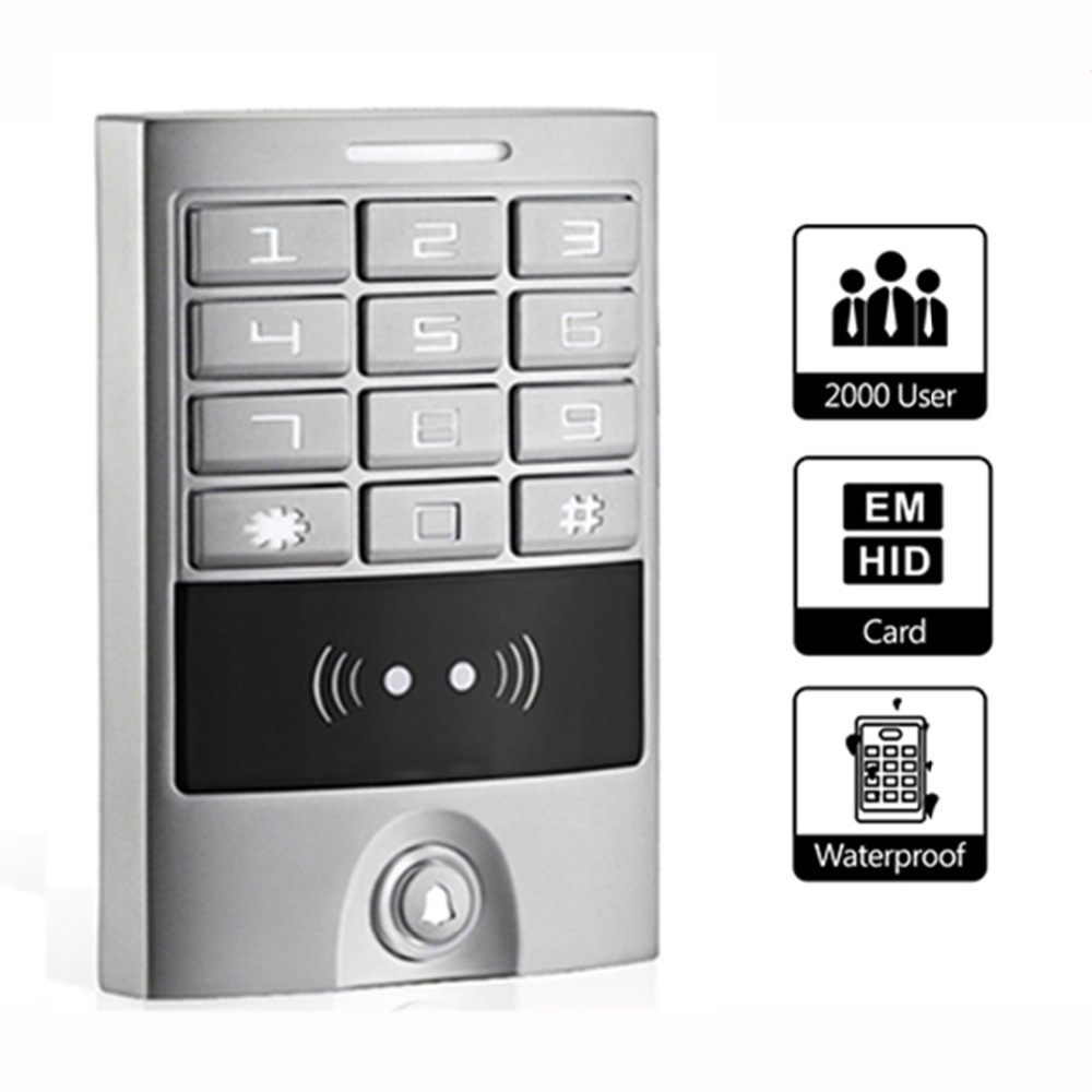 Waterproof EM & HID Card Backlit Metal Keypad Reader Door Access Control Machine Home Entry Security for Outdoor Silver F1223D(China (Mainland))