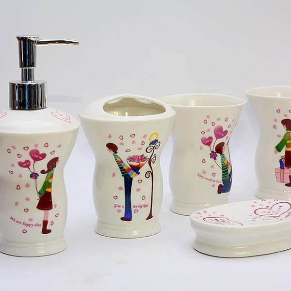 Ceramic bathroom accessories set fashion elegant bathroom for Bathroom sanitary accessories