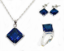 hot Model silver chain blue crystal&rhinestone necklace earrings set T757 18k white gold filled(China (Mainland))