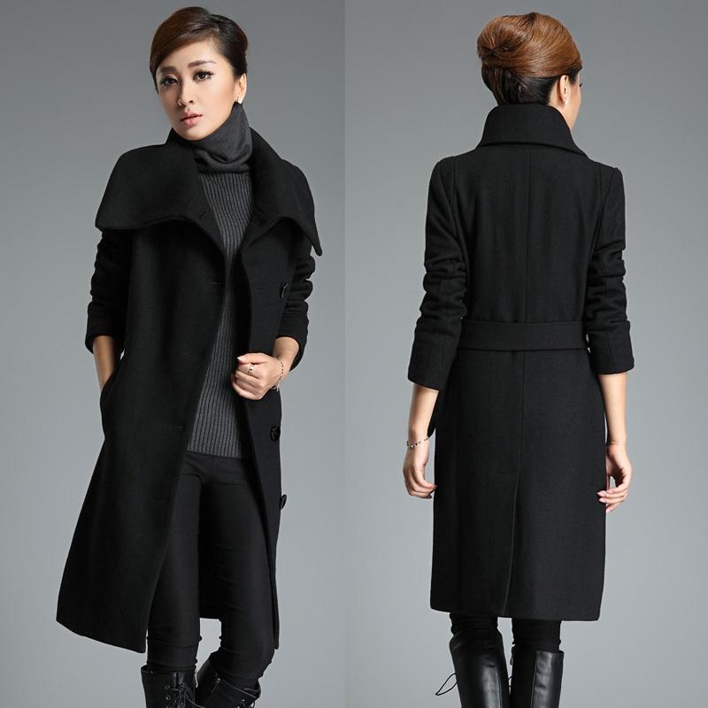 2015 winter women's Ultra long woolen outerwear black trench woolen overcoat fashion plus size female Free Shipping(China (Mainland))