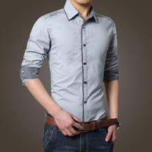 2015 New Brand Mens Cotton Casual Shirt Long-sleeved Slim Solid Dress Men Shirts camisa social masculina chemise homme(China (Mainland))