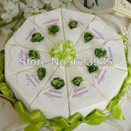100 pieces/lot Touch Of Green Cake Favor Box /Wedding Party Supplies Gift Box(China (Mainland))