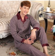 Men's Pajamas Spring Autumn Long Sleeve Sleepwear Cotton Plaid Cardigan Pyjamas Men Lounge Pajama Sets Plus size 4XL 5XL Sleep(China (Mainland))