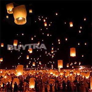 New Paper Chinese Lanterns Fire Sky Fly Candle Lamp for Birthday Wish Party Wedding Decoration(China (Mainland))