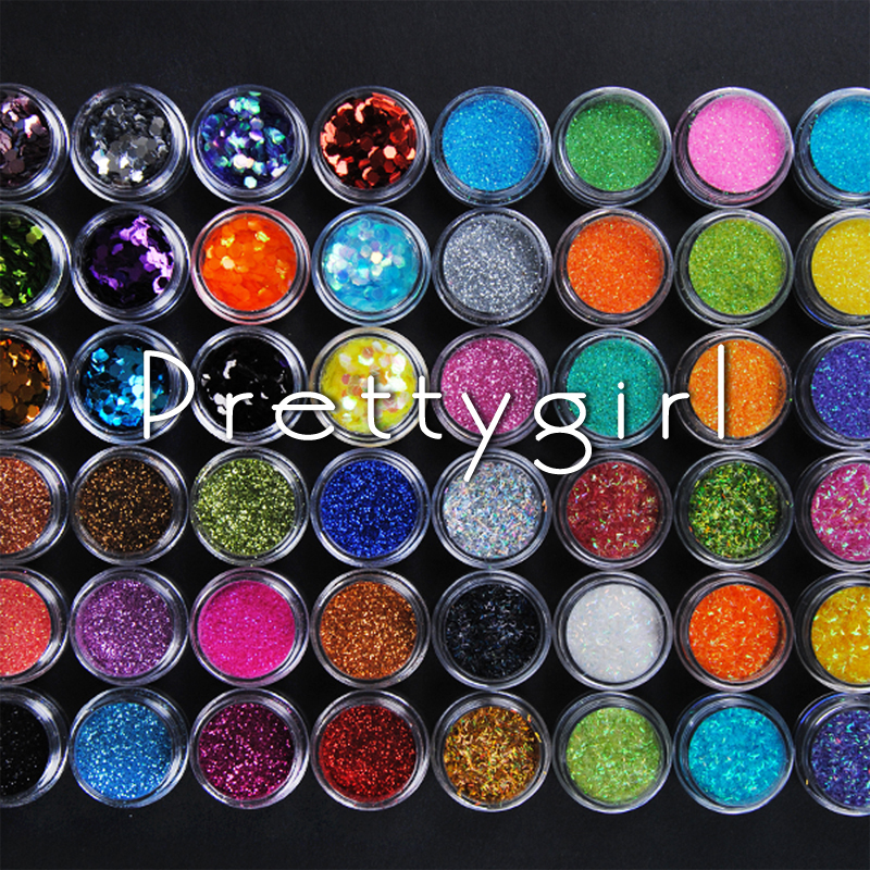 48 pcs Different Colors Nail Art Glitter Powder Dust Decoration With Box Free Shipping(China (Mainland))