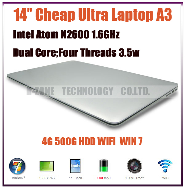 Russia Only!EMS Free Ultra Slim Laptop Notebook Computer 14.1 Inch Intel Atom N2600 Dual Core 1.6GHz DDR3 4GB RAM 500GB HDD(Hong Kong)
