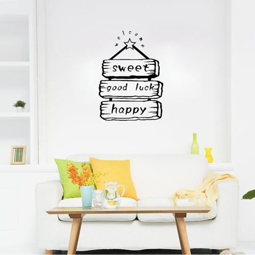 Free shipping sweet happy good luck sign bedroom living for Good luck home decor