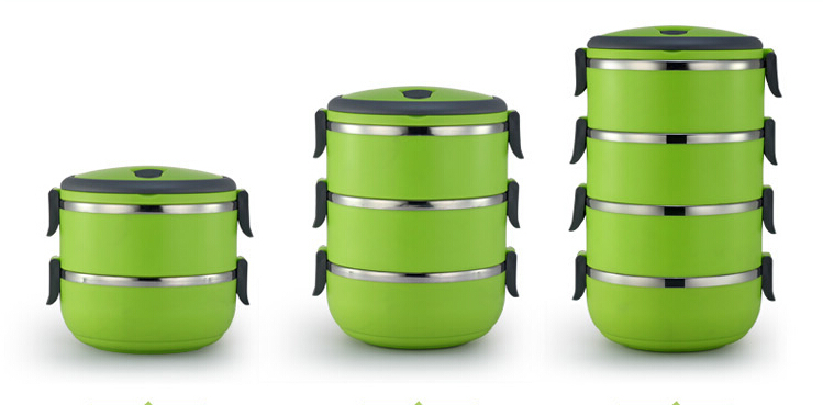 Free Shipping! Clasical Vacuum Thermos Bowl Stainless Steel 3 colors 1 to 4 layers $8 for single layer(China (Mainland))