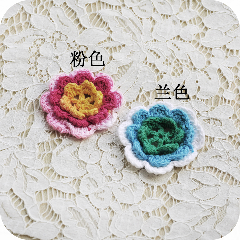 FREE SHIPPING Hand hook three petals wool flower handmade DIY bag garment doll clothing accessories material new recommendation(China (Mainland))
