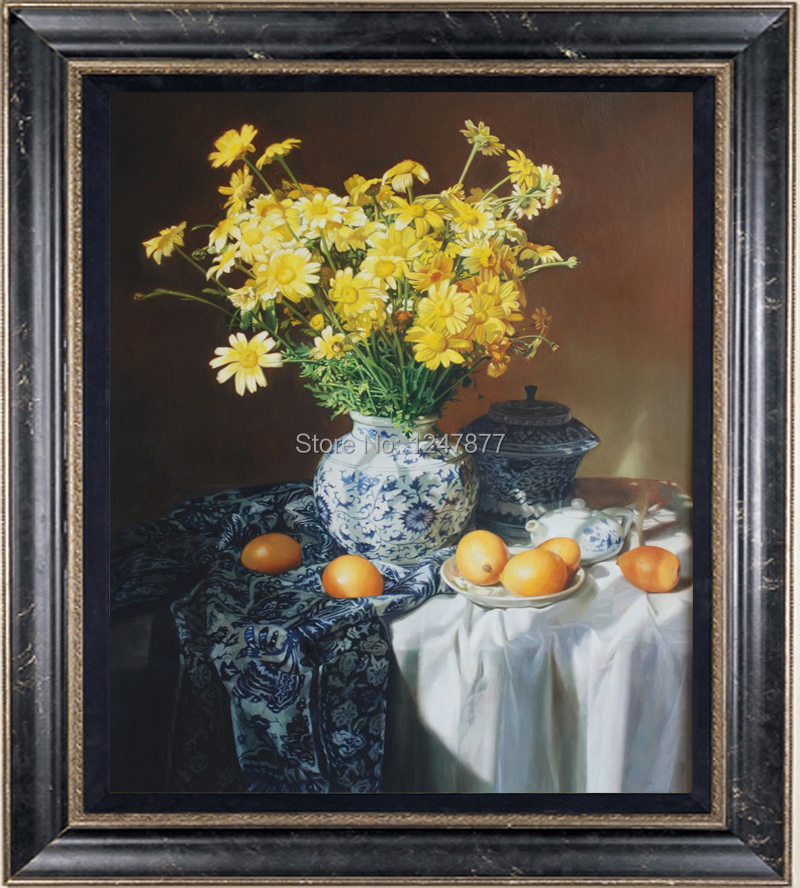"""Original Still life Oil painting art Table and Flower on canvas 30""""x40""""(China (Mainland))"""