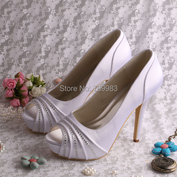 Free/Drop Shipping Black and White Satin Ladies Wedding Shoes Open Toe  High Heel Size 34~42#<br><br>Aliexpress
