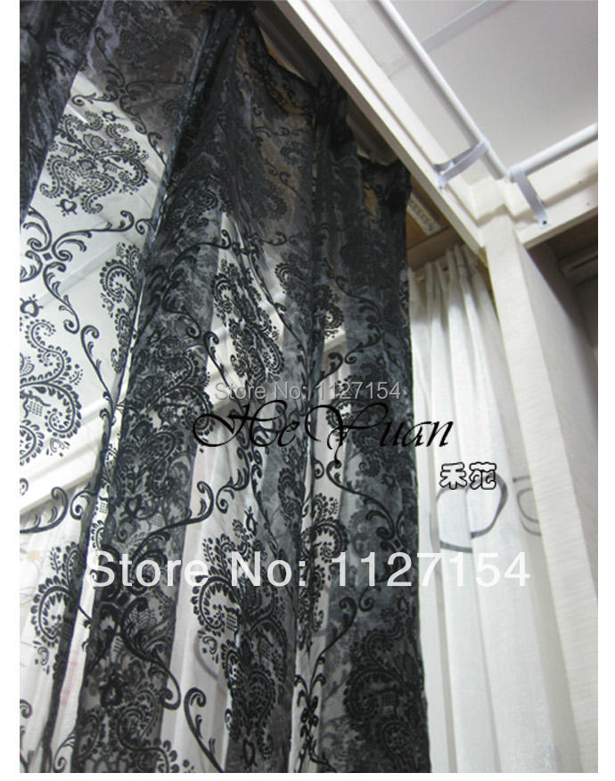 Free shipping-Black European flower Window screening printed design custom made sheer curtains for window Finished curtains(China (Mainland))