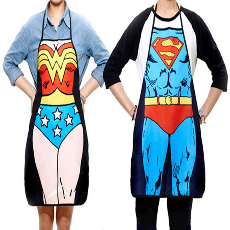 2Pcs Funny Novelty Sexy Dinner Party Superman Cooking Apron Wonder Woman Men#52077(China (Mainland))
