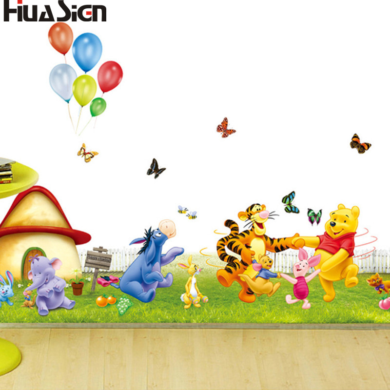 Winnie The Pooh And His Friends Cartoon Wall Sticker Kids Bedroom Home Decoration Mural