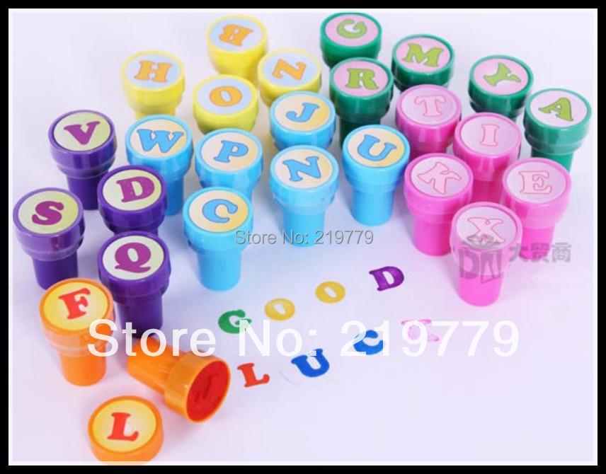 Children's Digital Number Alphabet Stamps Set Self-inking DIY Capital Letter ink Stamper for Kids Learing & Educational toys(China (Mainland))