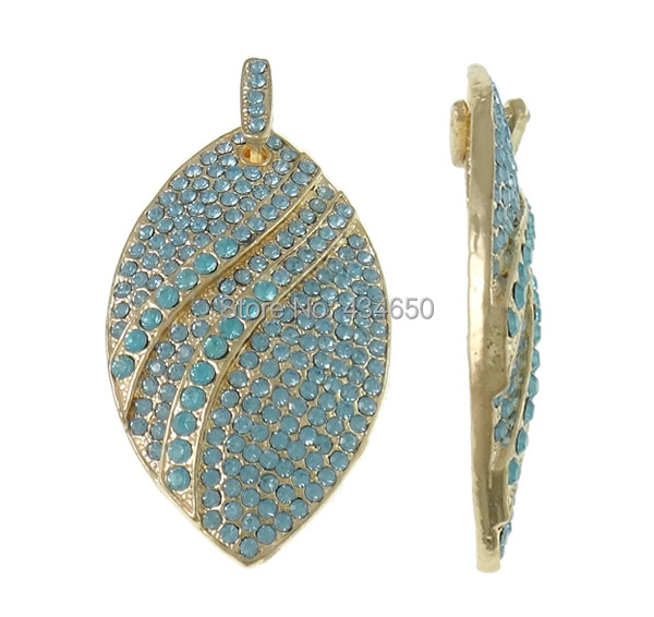 Free shipping!!!Zinc Alloy Rhinestone Pendants,Birthday Gift, Horse Eye, gold color plated, with rhinestone, light blue, nickel(China (Mainland))