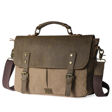 Men Vintage Canvas messenger bag crazy horse leather soft man travel bags retro school bag hasp cover military style handbag(China (Mainland))