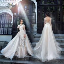 Luxury Long Sleeve Lace Wedding Dresses Handmade robe de mariage Button Back Beaded vestido de noiva de renda 2017 Bridal Gowns(China (Mainland))