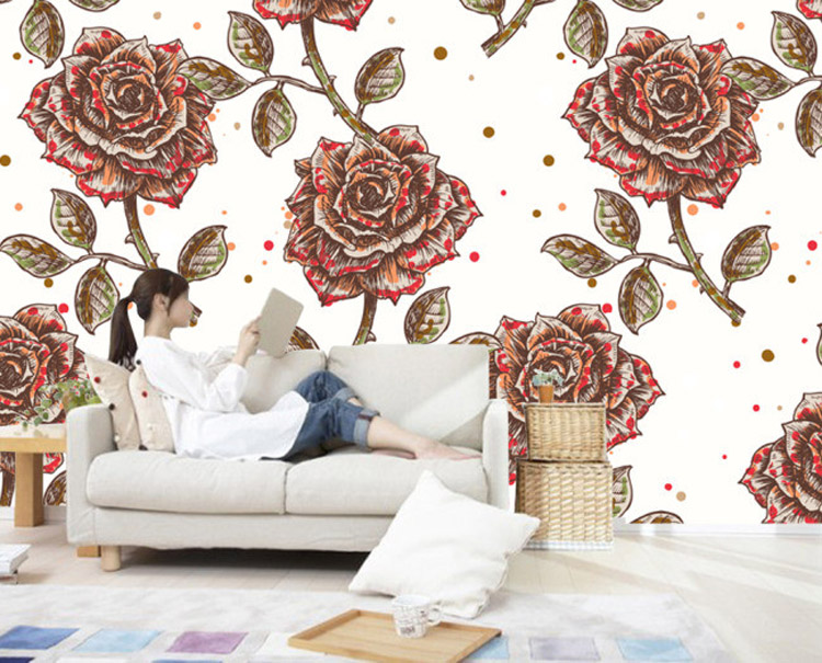 Vintage rose bedding promotion shop for promotional for Antique wallpaper mural