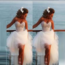hoch niedrig weißen kleid 2015 Luxus tüll korsett rhineston Heimkehr festzug kleider für frauen festa vestido trägerlosen(China (Mainland))