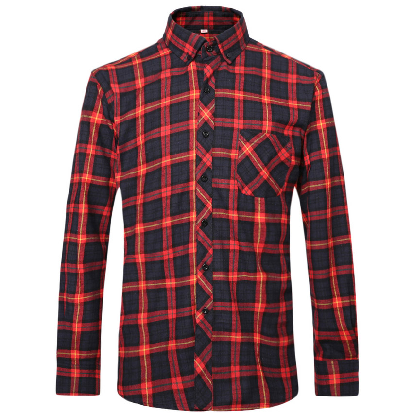 Buy flannel men shirts 2016 new non iron for Mens slim fit flannel shirt