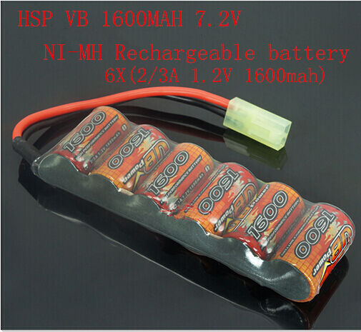 HSP VB 1600mah 7.2V NI-MH Rechargeable battery 6x(2/3A 1.2V 1600MAH)1:16 large capacity power remote control car battery<br><br>Aliexpress