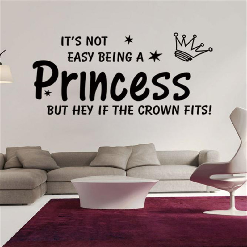 2016 Cartoon Crown Princess wall sticker Letter quote plastic sticking words poster Black&Red color drop shipping on sale(China (Mainland))