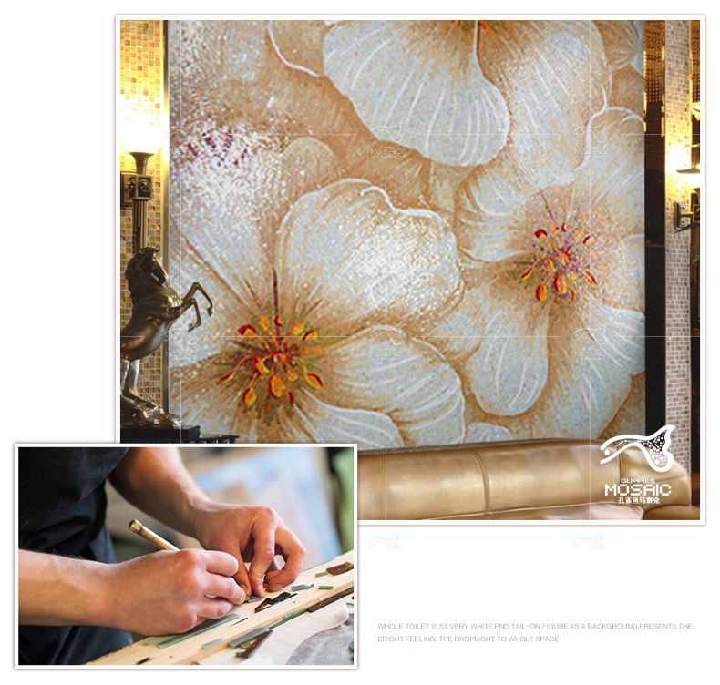 Customized hand made Bisazza mosaics flower deco wall tile backsplash picture home mosaic art for kitchen
