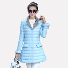 2016 Brand Lady Spring Autumn Overcoat Women Turn-down Collar Ultra Light 90% White Duck Down Coat With Bag ladies' Jacket xd112(China (Mainland))