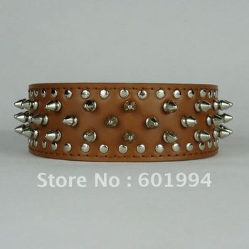 Brown 2 Inch Wide Spiked Leather Dog Collars British Pitbull Mastiff Size XS S M L Dog Collars