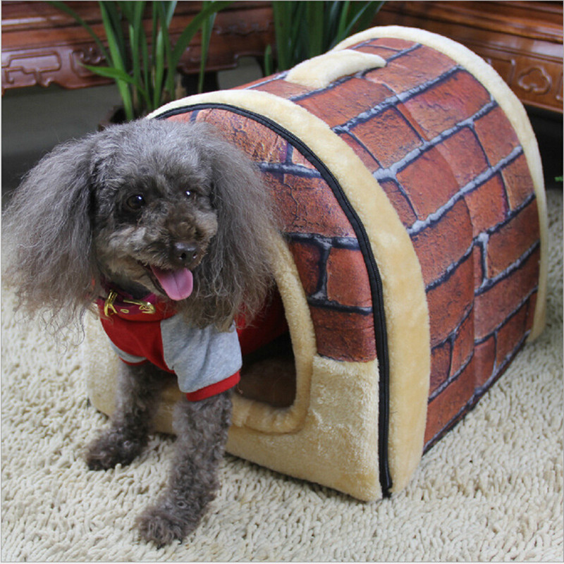 Hot Sale Pet Dog Cat Comfortable Soft House High Quality Puppy Plush House Nest Sleep Warm Kennel  3 Colors