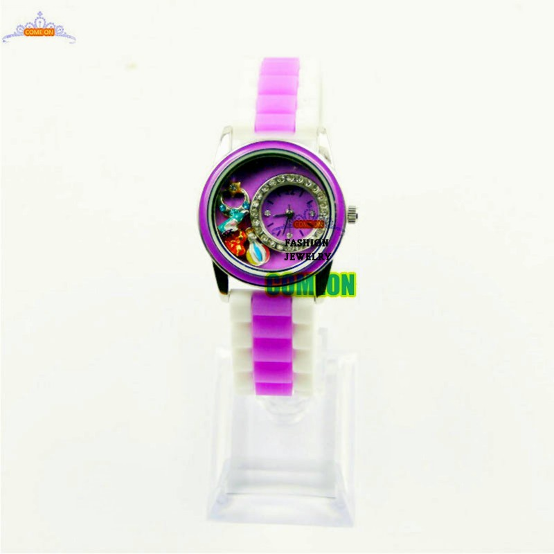 Arrived 2015 in the latest fashion purple Floating living locket charm wrist watch time piece in your choice of colors<br><br>Aliexpress