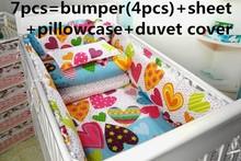 Promotion! 6/7PCS Cot Bed Bedding Sets,100% Cotton Fabrics Baby Bedding Sets,Baby Cot Bedding  ,120*60/120*70cm