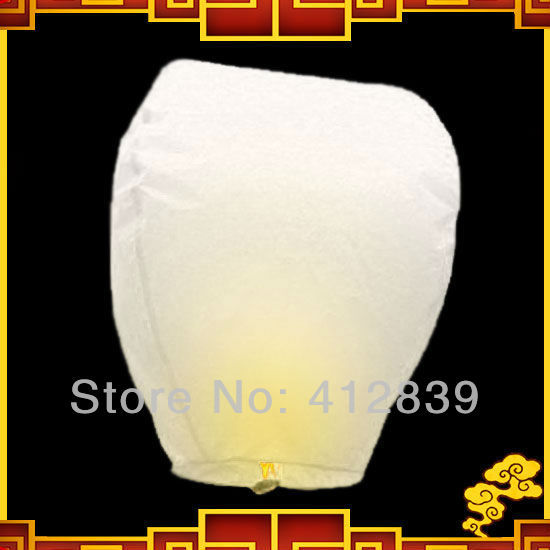 10pcs/Lot Oval Shape Chinese Sky Light Pure White Wishing Fire Sky Lanterns for Best Wedding Gift Free Shipping