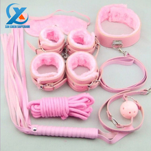 7pcs/Set Pink Plush Lovely Sexy Products Handcuffs Ankle Cuffs Patch Collar Gag Paddle Whip Rope Harnless SM Products Adult Game