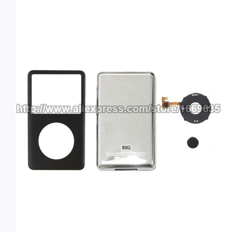 NEW Black Front Faceplate Housing + Back Case + Click Wheel For iPod Classic 80gb(China (Mainland))