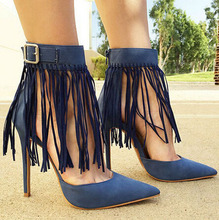 Free Shipping Elegant Pointed Toe Blue Fringed High Heels Charming Ankle Buckle Dress Shoes(China (Mainland))