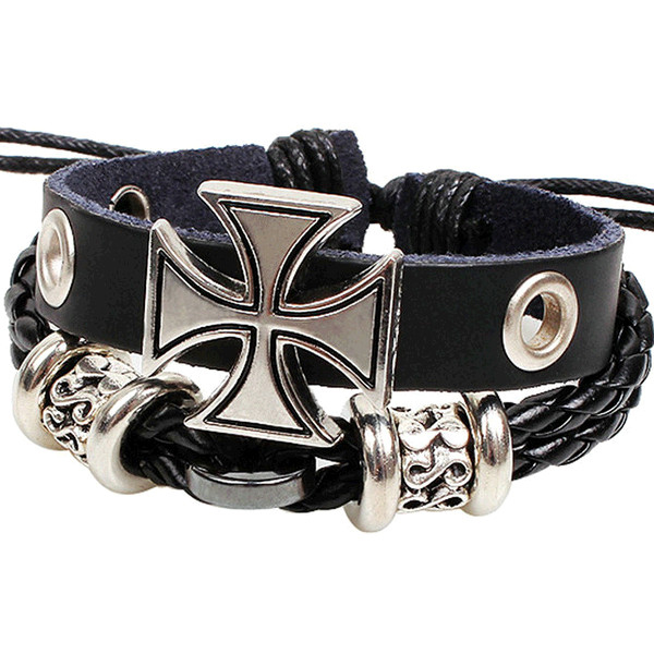 Retro rope leather mens bracelets leather rope hand woven bracelet for men rope braided bracelet male