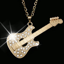 fashion gold guitar punk men long chain necklace big long pendant necklace summer style  women accessories silver jewelry nkeh58
