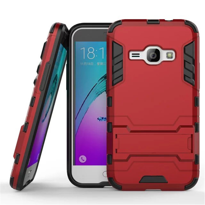 J1 2016 Case Hybrid Kickstand 2 in1 combo Bracket Stand Case + Heavy Duty Armor Phone Back case For Samsung Galaxy J1 2016(China (Mainland))