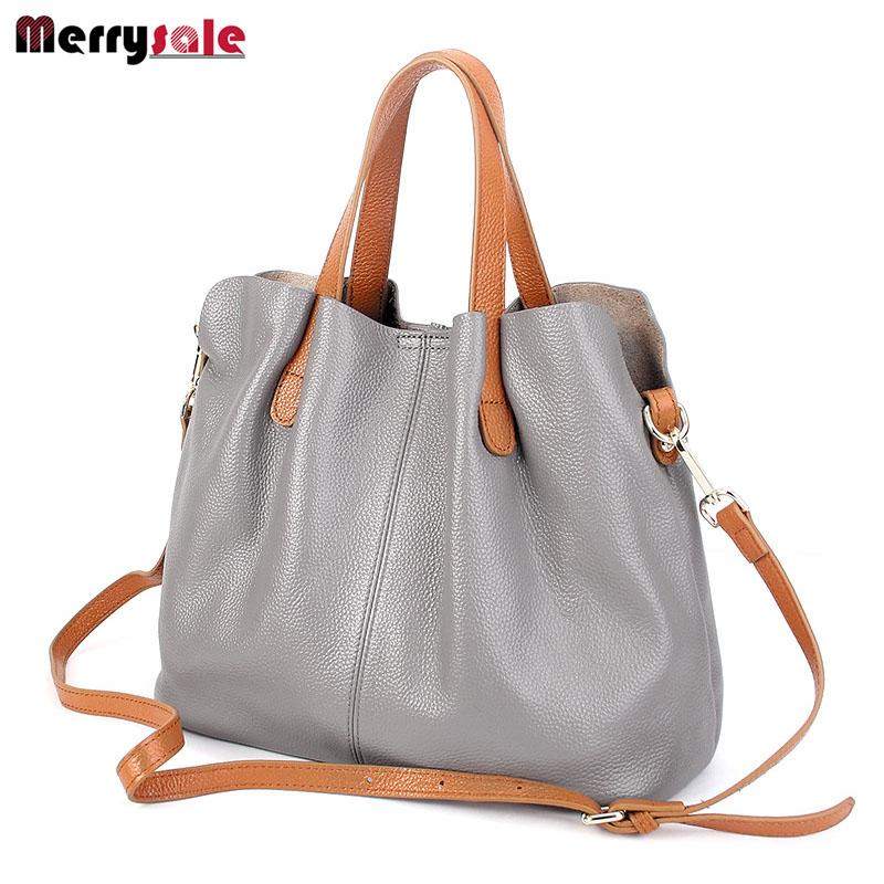 Women General leather handbags tide Europe fashion first layer cowhide women bag hand diagonal cross package